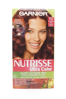 Garnier Nutrisse Ultra Color Ultra Intense Red for Darker Hair R2 Medium Intense Auburn One Application