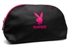 "Playboy TOILETRY / BEAUTY BAG, Black Vinyl and Pink 100% Polyester Lining, aprox 11"" x 5.5"""