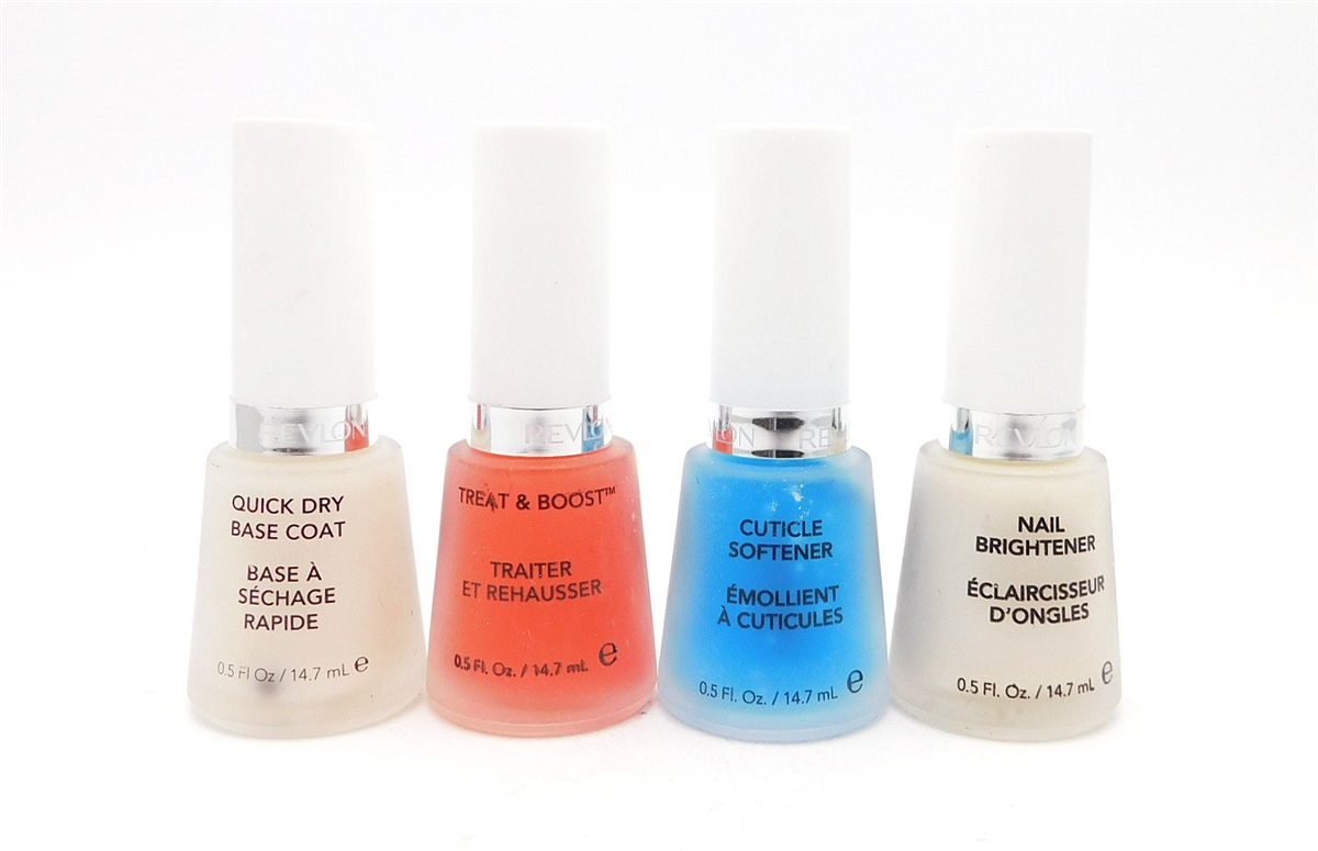 Revlon Nail Care 4 Piece Set: Quick Dry Base Coat, Treat & Boost ...