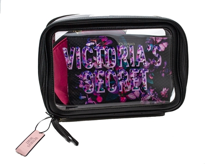 Victoria's Secret 3 Piece Cosmetics Bags, Floral & Pink with Zippers