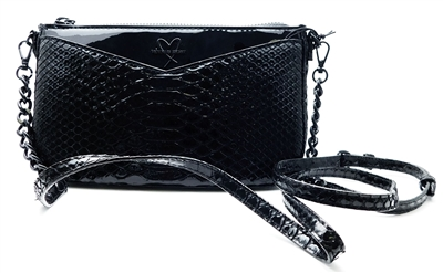 Victoria's Secret Black Luxe Python Over Shoulder Purse with Zipper