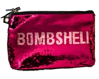 Victoria's Secret BOMBSHELL Pink and Silver Sequin Zippered Bag with Loop for Optional Wristlet Strap