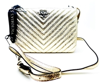 Victoria's Secret Gold Metallic Quilted Crossbody Purse with Zipper