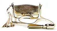 Victoria's Secret LOVE Gold Over Shoulder Purse with Snap Closure