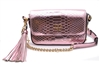 Victoria's Secret Luxe Downtown Crossbody Purse, Pink Python Texture with Oversized Tassel Zipper Pull with Leather and Chain Strap