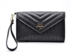 Victoria's Secret Quilted Matte Black Clutch/Wallet/Phone Case Purse with Wrist Strap, Chrome Logo