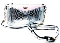 Victoria's Secret Silver and Pink Over Shoulder Purse with Zipper
