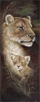 12x36 Lioness, Proud Mother, Artist Ruane Manning - Safari Art Print Poster Unframed