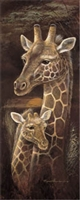 12x36 Giraffe, Love & Devotion, Artist Ruane Manning - Safari Art Print Poster Unframed