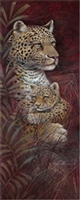 12x36 Leopard, Maternal Affection, Artist Ruane Manning - Safari Art Print Poster Unframed