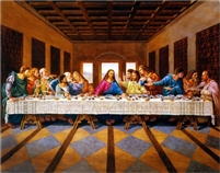 Jesus Christ The Last Supper Religious,  22x28 Black Art Print Poster African-American