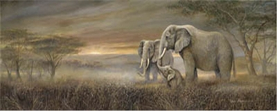 8x20 Elephant Family, Gentle Giants, Artist Ruane Manning - Safari Art Print Poster Unframed