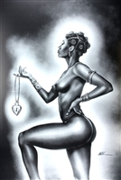 Lock & Key Female By WAK Kevin A. Williams  24x36  Black Art Print Poster African-American