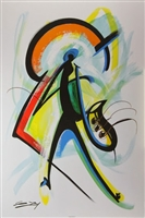 Color of Jazz Artist Gerald Ivy  24x36 Abstract Art Print Poster African-american