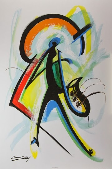 color of jazz artist gerald ivy 24x36 abstract art print poster