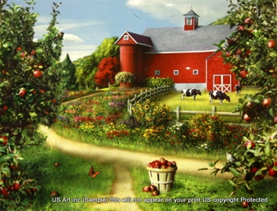 8x10 Inch Apples and Farm Fine Art Print Interior Decor in Cottages #X60-810-F