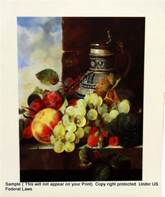 8x10 Inch A Stein Grapes Fine Art Print And Poster In