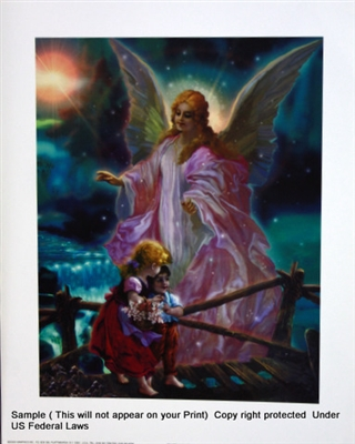 8x10 Inch Guardian Angel Fine Art Print and Poster in Angels #x23-810-L