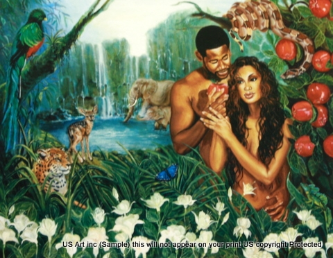 8x10 Inch In The Garden Of Eden African American Black Art Faith Print In Creation X83 810 A