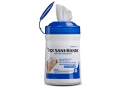 "Sani-Hands® Instant Hand Sanitizing Wipes, Medium, 6"" x 7.5"", 135/can, 12 can/cs PDI 13472"