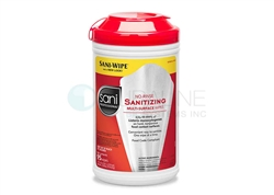 "No Rinse Sanitizing Multi-Surface Wipes 7.75"" x 9"" 95 wipes/canister, 6 canisters/case PDI P56784"