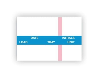 Labelex Single-Ply Date, Load, Tray, Unit, Initials and Indicator Strip (blue) Labels 1,000/roll, 12 rolls/pk