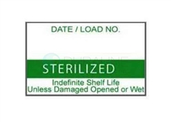 "Labelex Single-Ply Green ""Sterilized"" Labels 500/roll, 12 rolls/pk"