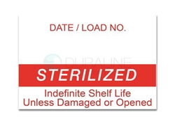 "Labelex Single-Ply Red ""Sterilized"" Labels 500/roll, 12 rolls/pk"