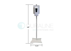 "Heavy-Duty Steel Stand For Hand Sanitizer Dispenser with 14 lb. base, white powder-coated, 48"" high"