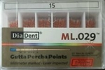 Diadent Gutta Percha Points Size 15 ISO Color Coded Box of 120