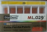 Diadent Gutta Percha Points Size 20 ISO Color Coded Box of 120