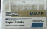 Diadent Absorbent Paper Points Size 45 ISO Color Coded Box of 200