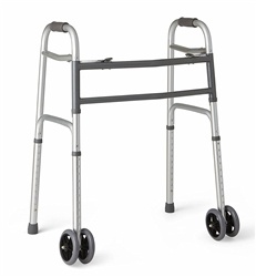 "Medline Heavy Duty Bariatric Folding Walker with 5"" Wheels with Durable Plastic HandlesMedline Bariatric Folding Walker"