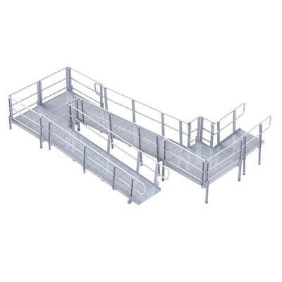 PVI Modular XP Ramp with Handrails, 36 Inches Wide
