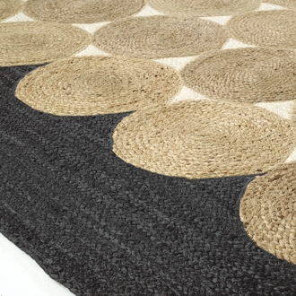 Elitis Kool Graphite accent rug.   Black and tan circular hand braided jute area rug.  Click for details and checkout >>