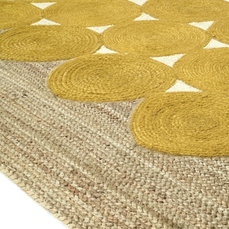 Elitis Kool Banane accent rug.   Yellow and tan circular hand braided jute area rug.  Click for details and checkout >>