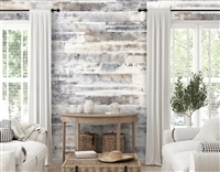 Rustic Farmhouse White Real Wood Peel and Stick Wall Planks.  Click for details and checkout >>