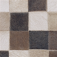 Elitis Indomptee VP 619 02.  Tan mulita color checker design faux fur embossed wallpaper.  Click for details and checkout >>
