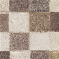Elitis Indomptee VP 619 03.  Neutral multi color checker design faux fur embossed wallpaper.  Click for details and checkout >>