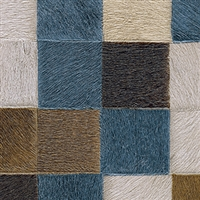 Elitis Indomptee VP 619 05.  Blue multi color checker design faux fur embossed wallpaper.  Click for details and checkout >>