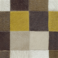 Elitis Indomptee VP 619 06.  Yellow and brown multi color checker design faux fur embossed wallpaper.  Click for details and checkout >>