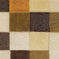 Elitis Indomptee VP 619 07.  Orange and brown multi color checker design faux fur embossed wallpaper.  Click for details and checkout >>