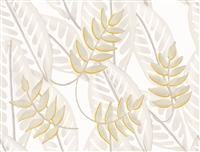 Elitis Flower Power TP 302 01.  Soft white oversized retro botanical leaf wallpaper.  Click for details and checkout >>