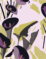 Elitis Flower Power TP 304 01.  Lilac purple and black calla lily floral large print wallpaper.  Click for details and checkout >>