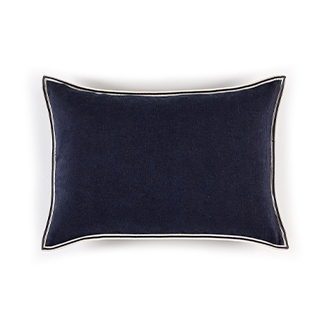 Elitis Big Philia CO 193 49 06 Bleu encre deep blue viscose linen sold color designer accent cushion cover.  Click for details and checkout >>