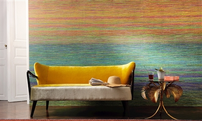 Elitis Panama VP 714 01 rainbow striped grass cloth textured vinyl panoramic mural.  Click for details and checkout >>