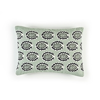 Elitis Eze CO 186 56 02 Amande printed embroidered linen, mint green bohemian chic throw pillow.  Click for details and checkout >>