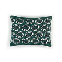 Elitis Eze CO 186 69 02 Obsidian printed embroidered linen, emerald green bohemian chic throw pillow.  Click for details and checkout >>