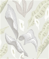 Elitis Flower Power TP 305 01.  Off white large scale floral leaf print wallpaper.  Click for details and checkout >>