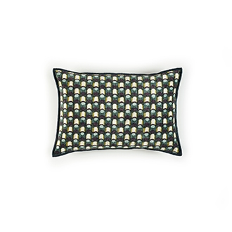 Elitis Gemmail CO 191 68 04  Obsidian printed velvet scallop pattern with black piping accent cushion cover.  Click for details and checkout >>